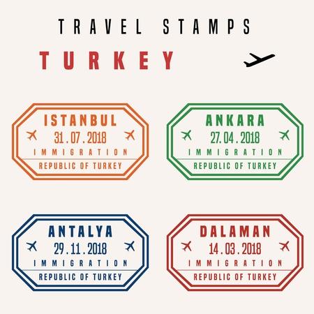 Viaggio vettoriale - set di francobolli passaporto (francobolli fittizi). Destinazioni turche: Istanbul, Ankara, Antalya e Dalaman.