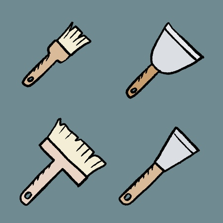 House painting tools - renovation objects. Paint brushes and putty knives. Cartoon style vector. Иллюстрация