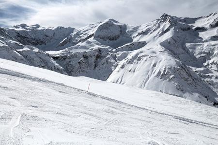 Sportgastein ski resort in Austria. Snow in Alps - Hohe Tauern range in winter.