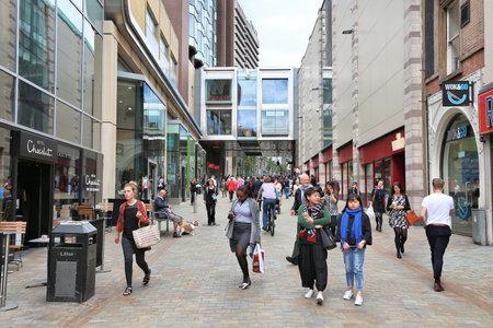 LEEDS, UK - JULY 12, 2016: People shop at Albion Street in downtown Leeds, UK. Leeds urban area has 1.78 million population. Editorial