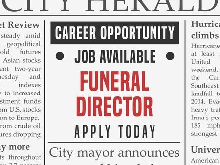 장례식 지도자 경력 - 직업 고용은 가짜 신문에 광고를 분류.