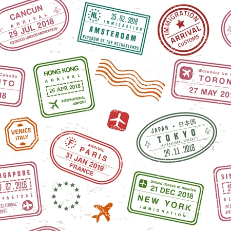 Travel background - passport stamps collage. Fictitious stamps set.  イラスト・ベクター素材
