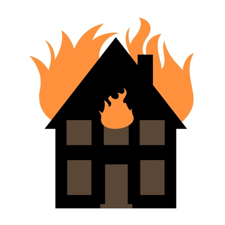 conflagration: House fire illustration - blazing home graphics.