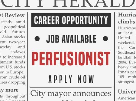 Perfusionist 의료 경력 - 가짜 신문에 직업 분류 광고. 일러스트