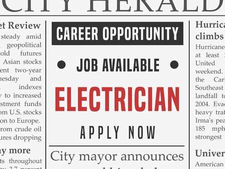 Electrician career - job classified ad in fake newspaper.