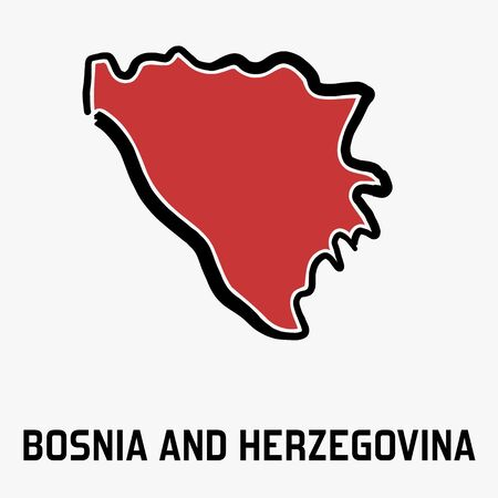 Bosnia and Herzegovina simple map outline - simplified country shape map vector.