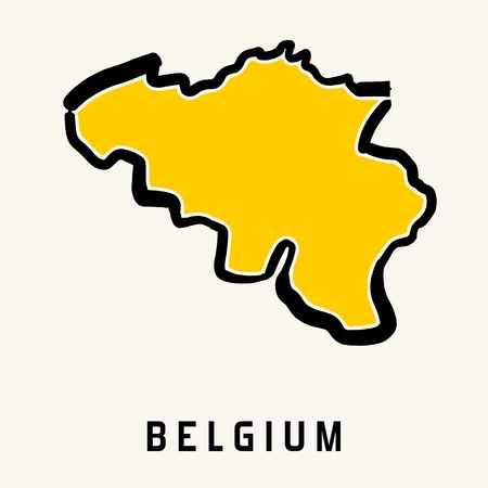 Belgium simple map outline - simplified country shape map vector.