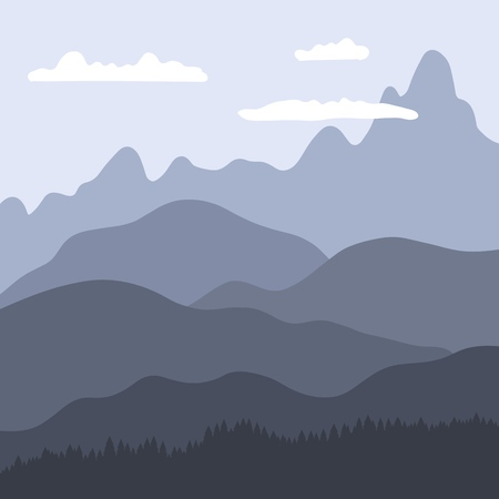 Mountain landscape layers - vector background illustration. Hills and mountains.