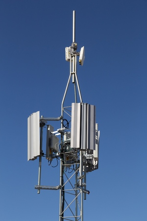 Communications tower - mobile network transmitters and antennas.