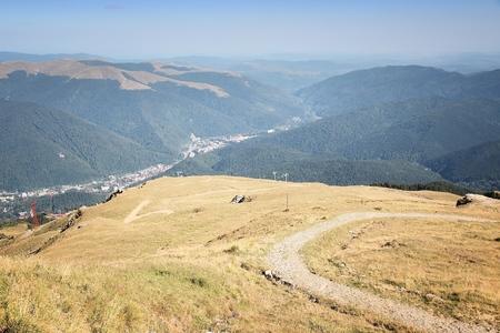 Hiking in Romania - mountain trail in Bucegi Mountains (part of Carpathians).
