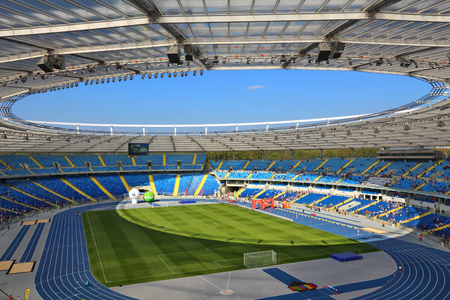 KATOWICE, POLAND - OCTOBER 1, 2017: Silesian Stadium (Stadion Slaski) open day in Katowice, Poland. Stadion Slaski is one of biggest venues in Poland. Publikacyjne