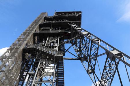 Katowice, Poland - retro industrial coal mine shaft tower. Upper Silesia region.