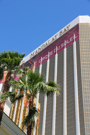 LAS VEGAS, USA - APRIL 14, 2014: Mandalay Bay resort view in Las Vegas. It is one of 20 largest hotels in the world with 3,309 rooms. Editorial