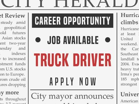 Vrachtwagenchauffeur carrière - baan ingedeeld advertentie vector in nep-krant.