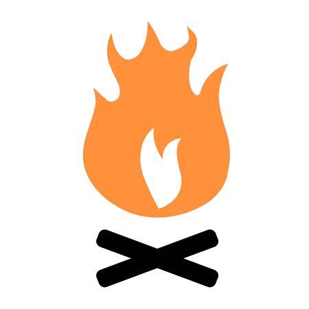 Bonfire icon - simple vector camp fire illustration design element. Illustration