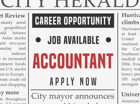 회계사 경력 - 직업 분류 된 광고 벡터 가짜 신문.