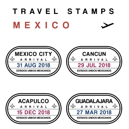 Travel vector - passport stamps set (fictitious stamps). Mexico destinations: Mexico City, Cancun, Acapulco and Guadalajara.