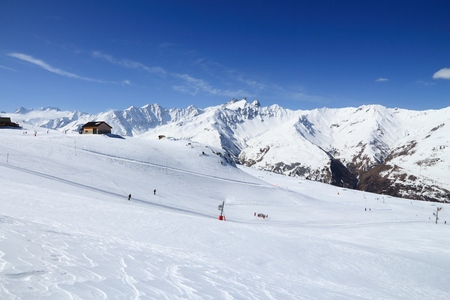 French Alps winter snow - Valloire ski resort in Europe.
