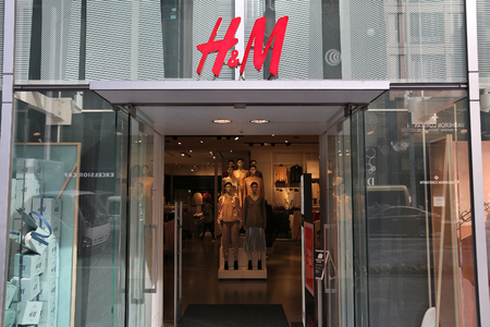 TOKYO, JAPAN - DECEMBER 1, 2016: H&M casual fasihon store at Ginza district of Tokyo, Japan. Ginza is a legendary shopping area in Chuo Ward of Tokyo.