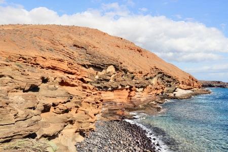 Tenerife landscape - Costa Del Silencio coastline. Punta Amarilla volcanic tuff rocks. Stock Photo