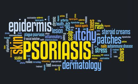 Psoriasis - dermatology problem and skin health  Word cloud sign