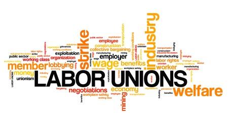 Sindicatos - organizaciones de bienestar industrial. Nube de palabras de empleo.