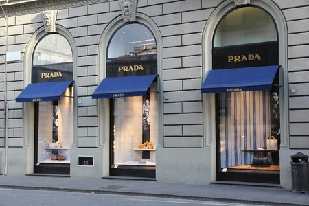 FLORENCE, ITALY - APRIL 30, 2015: Prada fashion store in Florence. Prada is a fashion company with 3.6 billion EUR of annual revenue (2013).