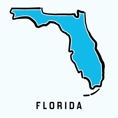Florida map outline - smooth simplified US state shape map vector.