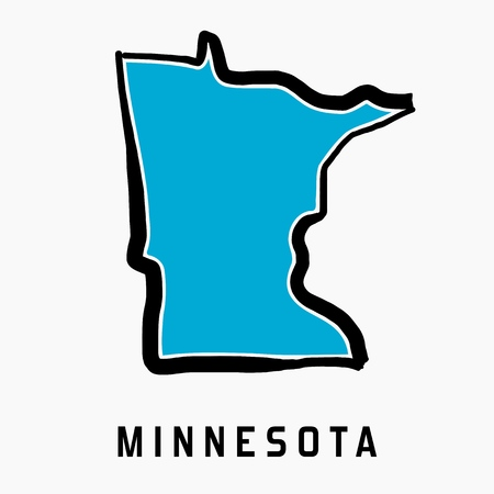 Minnesota map outline - smooth simplified US state shape map vector.