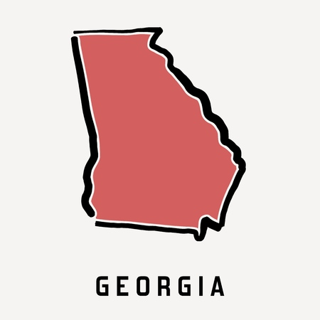 Georgia map outline - smooth simplified US state shape map vector.