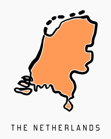 The Netherlands map outline - smooth simplified country shape map vector.