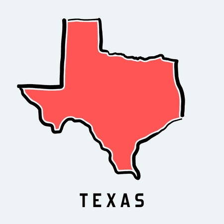 Texas map outline - smooth simplified US state shape map vector. Vettoriali