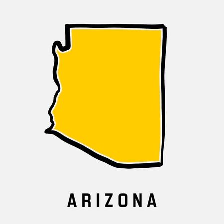 アリゾナ州地図概要 - 滑らかな簡略化された米国状態図形地図ベクトル。  イラスト・ベクター素材