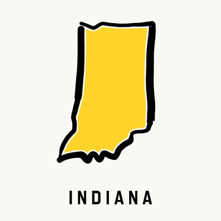 Indiana map outline - smooth simplified US state shape map vector.