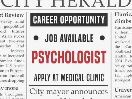 Psychologist medical career - job hiring classified ad vector in fake newspaper.
