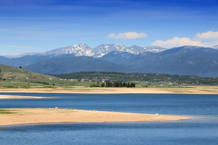 Colorado landscape - Lake Granby view with Rocky Mountains in background. Part of Arapaho National Recreation Area.