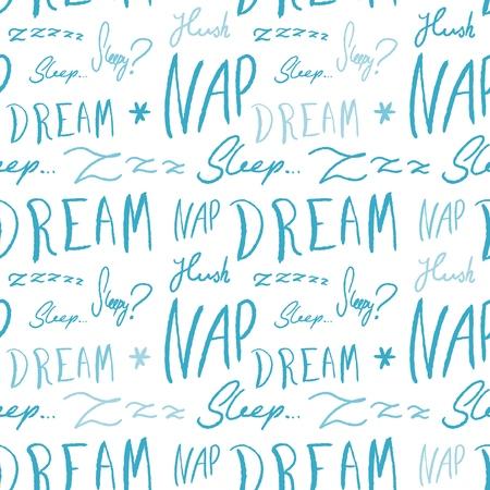 Bed linen design pattern. Sleepy doodle - sleep time vector texture with handwritten words. Illustration