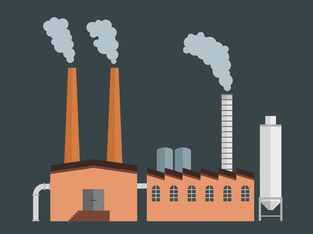 Factory building - industrial manufacturing plant architecture vector illustration.