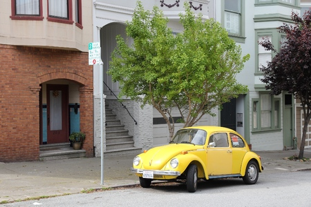 SAN FRANCISCO, USA - APRIL 9, 2014: Oldtimer VW Bettle parked in San Francisco, USA. San Francisco is the 4th most populous city in California (837,442 people in 2013).
