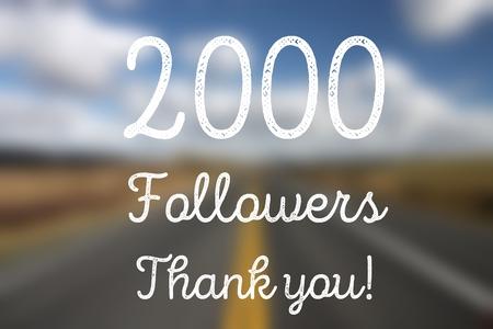 2000 followers - company social media account thank you note. 2k fans.