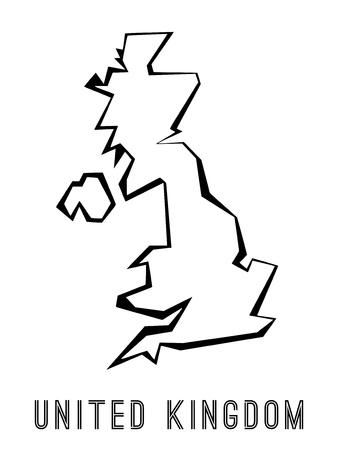 UK map outline - country shape sharp polygonal geometric style vector. Illustration