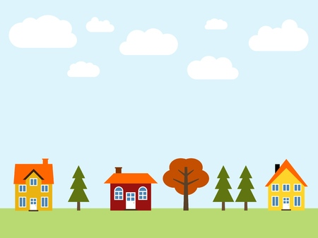 Small cartoon town vector - cute village illustration. Residential suburb.