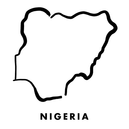 Nigeria simple map outline - smooth simplified country shape map vector. Illustration