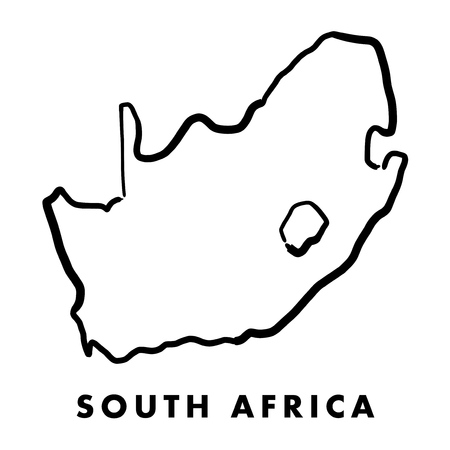South Africa simple map outline - smooth simplified country shape map vector.