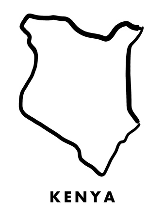 kenya: Kenya simple map outline - smooth simplified country shape map vector.