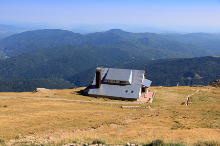Carpathian Mountains landscape - Romania mountain refuge in Bucegi Mountains.