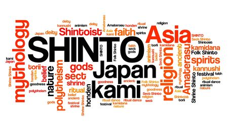Shinto - Japanese mysticism and religion. Asian culture. Word cloud sign.
