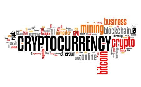 暗号化-デジタル仮想通貨の概念。ワードクラウドサイン。