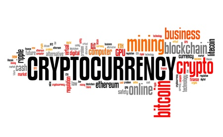 Cryptocurrency - digital virtual currencies concepts. Word cloud sign. Imagens