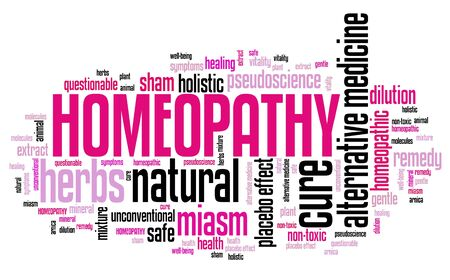 Homeopathy - alternative natural medicine with controversies. Word cloud sign.